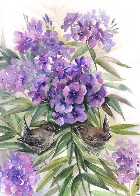 Картины цветов ручной работы. Ярмарка Мастеров - ручная работа. Купить Акварель с цветами Птицы крапивники в цветах флоксов картина акварелью. Handmade.