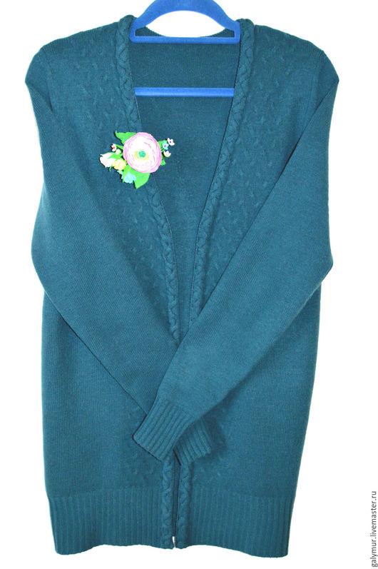 Пиджаки, жакеты ручной работы. Ярмарка Мастеров - ручная работа. Купить Кардиган цвета Морской волны. Handmade. Морская волна