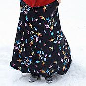 """Одежда ручной работы. Ярмарка Мастеров - ручная работа Теплая юбка на флисе из плащевки """"Птицы"""". Handmade."""