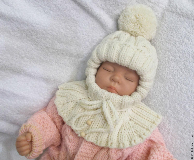 Связать шапку новорожденной шлем