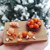 Куклы и игрушки handmade. Livemaster - original item Food for dollhouse - Board with mandarin for dollhouse miniature. Handmade.