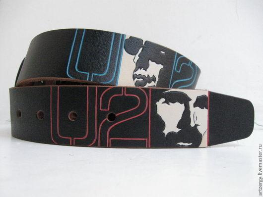 """Пояса, ремни ручной работы. Ярмарка Мастеров - ручная работа. Купить ремень кожаный """"U2"""". Handmade. Рисунок, пояс женский"""