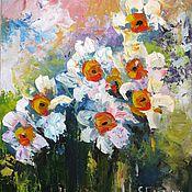 Картины и панно ручной работы. Ярмарка Мастеров - ручная работа картина цветов маслом на холсте нарциссы первоцветы. Handmade.