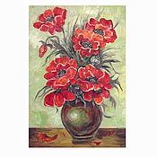 Картины и панно handmade. Livemaster - original item Oil painting still life with red poppies in a vase,29h21 cm,oil on canvas on hardboard. Handmade.
