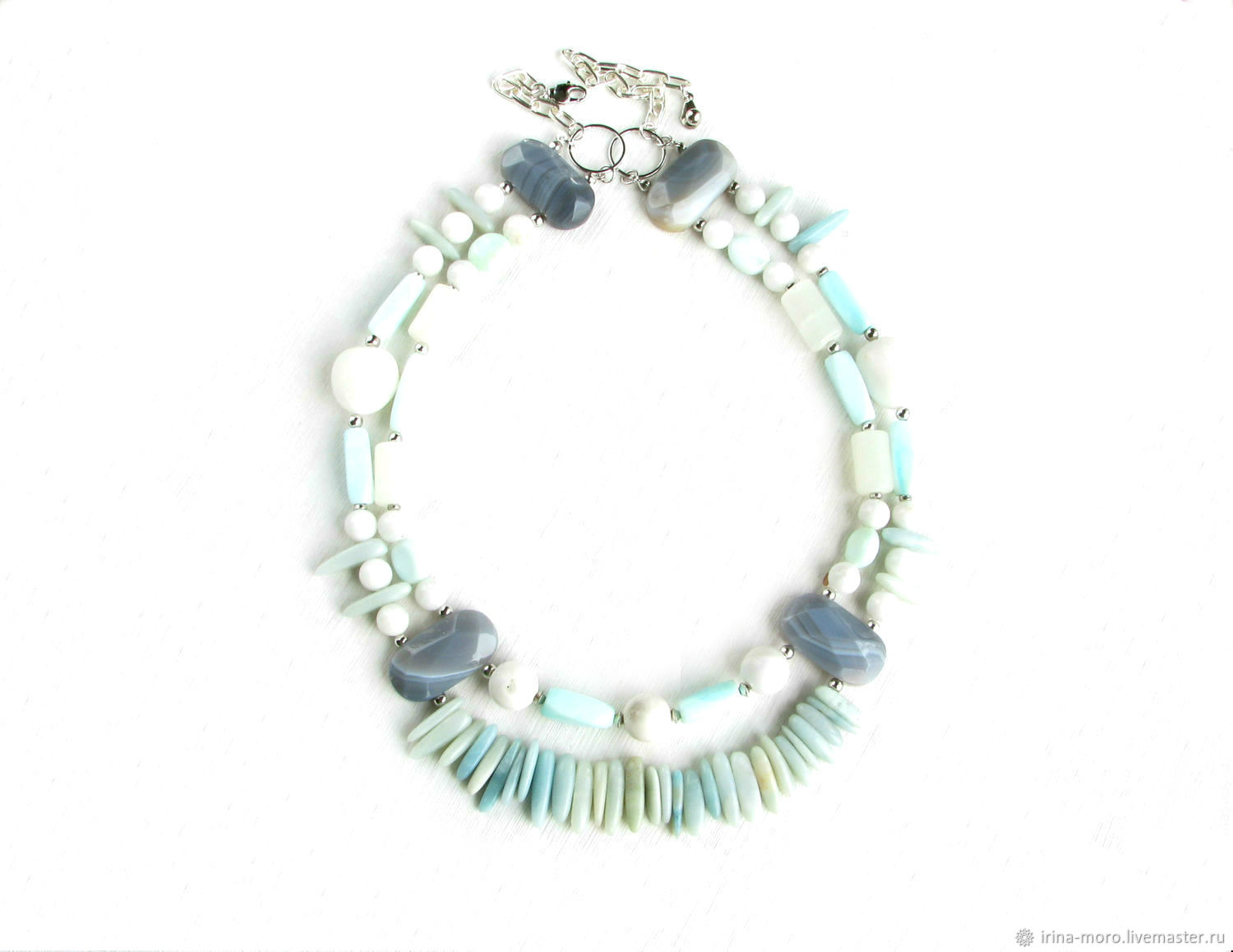 Necklace is of opal,turquoise necklace,necklaces of amazonite 'Strokes', Necklace, Moscow,  Фото №1