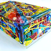 Для дома и интерьера handmade. Livemaster - original item Glass Jewelry Box Abstraction, Glass Trinket Box, Multicolored Jewelry. Handmade.