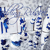 Свадебный салон ручной работы. Ярмарка Мастеров - ручная работа Свадебный набор синий, свечи, оформление бутылок,бокалов. Handmade.
