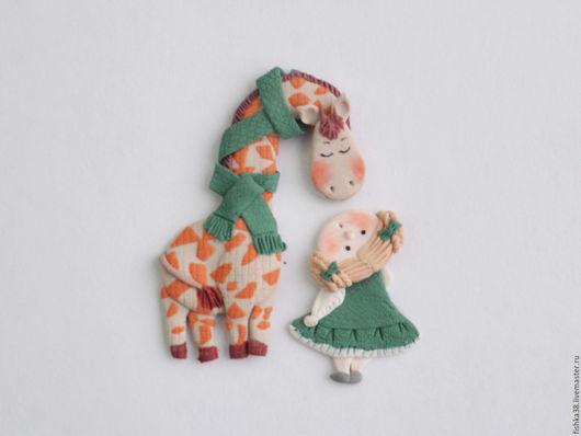 Броши ручной работы. Ярмарка Мастеров - ручная работа. Купить Жираф и крошка девочка.. Handmade. Морская волна