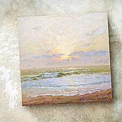Картины и панно handmade. Livemaster - original item The picture Through the haze of the sunrise (marine landscape, lilac). Handmade.