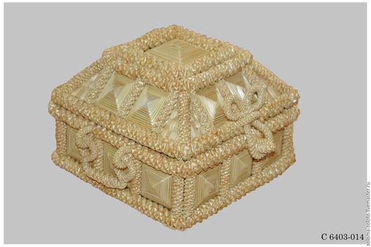 """Корзины, коробы ручной работы. Ярмарка Мастеров - ручная работа. Купить Шкатулка """"Ларец"""" из соломки. Handmade. Желтый, подарок женщине"""