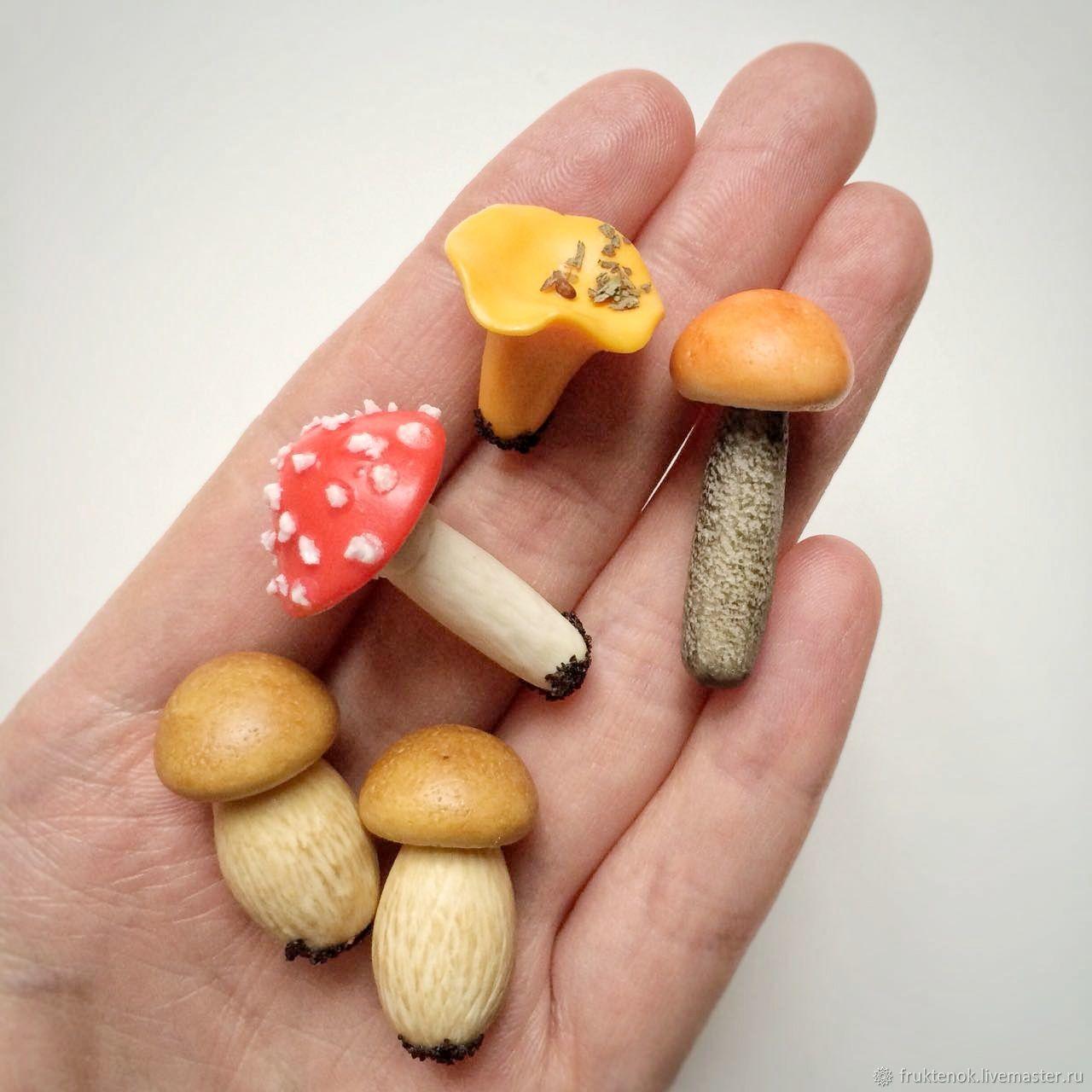 Фигурки грибов из полимерной глины, Кукольная еда, Москва,  Фото №1