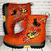 Обувь ручной работы handmade. Livemaster - original item Bullfinch and titmouse boots - size 41. Handmade.