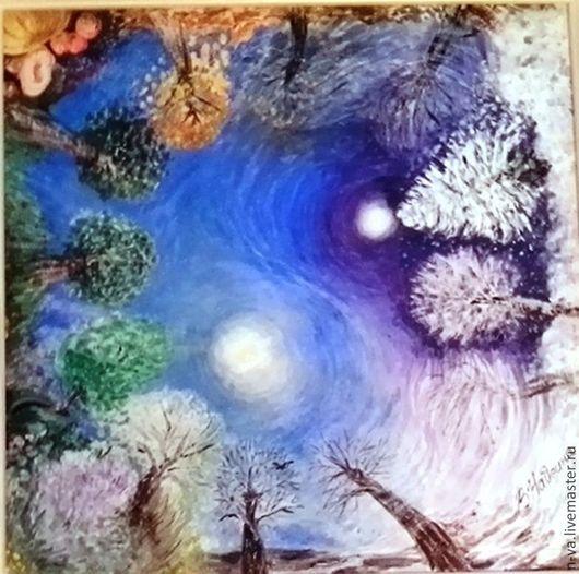 Картина символизм Двенадцать месяцев. Четыре ветра. Акрил, картон, декорированная рама 30х30 см