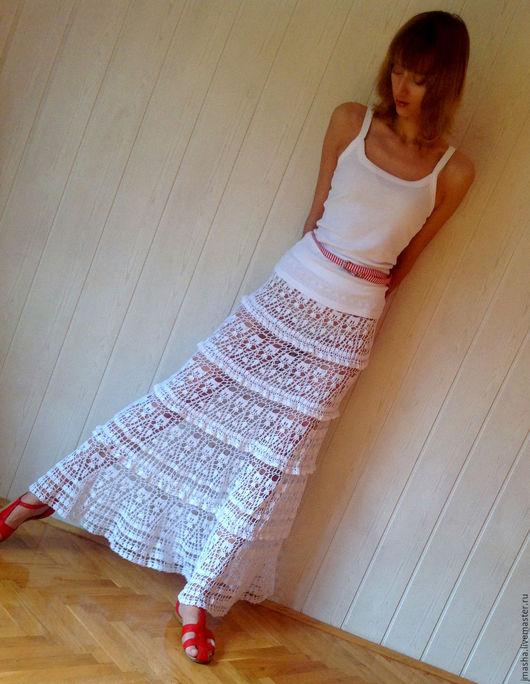 Ажурная вязаная юбка для высокой девушки