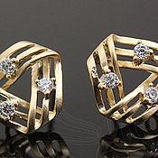 Материалы для творчества handmade. Livemaster - original item Earrings for earrings with cubic Zirconia art. 4-6V, brass with matte gold. Handmade.