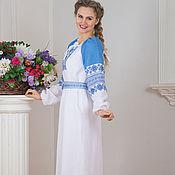 Русский стиль handmade. Livemaster - original item Linen dress Burdock happiness Russian. Handmade.