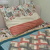 Для дома и интерьера ручной работы. Ярмарка Мастеров - ручная работа Лоскутное стеганое одеяло + наволочка. 150 х 180 см  Пэчворк. Handmade.