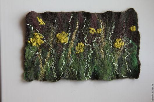 """Абстракция ручной работы. Ярмарка Мастеров - ручная работа. Купить Панно """"Луговая абстракция"""". Handmade. Коричневый, коврик, цветы"""