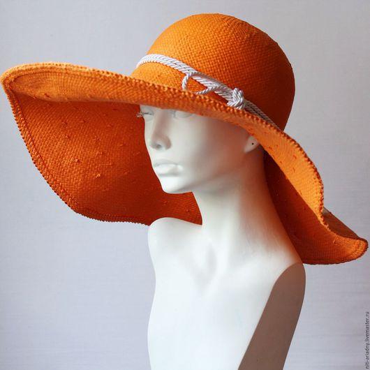 Шляпы ручной работы. Ярмарка Мастеров - ручная работа. Купить Шляпа летняя пляжная. Handmade. Оранжевый, летняя шляпа
