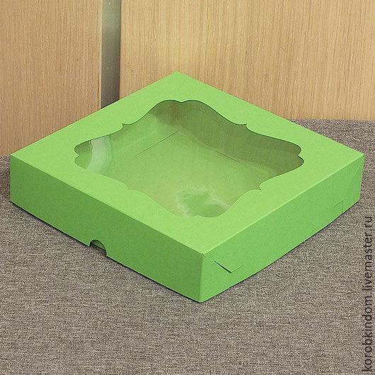 Упаковка ручной работы. Ярмарка Мастеров - ручная работа. Купить Коробка 16х16х3,5 крышка-дно зеленая с окном. Handmade.