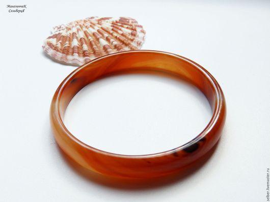 Браслеты ручной работы. Ярмарка Мастеров - ручная работа. Купить Каменный браслет на тонкую руку Рыжий агат. Handmade. Рыжий