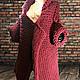 Верхняя одежда ручной работы. Заказать Rubino, бордовое пальто-кардиган крупной вязки. WasezUlwini. Ярмарка Мастеров. толстая пряжа
