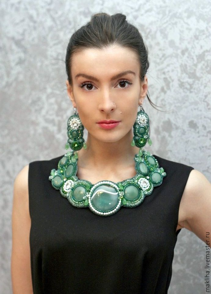 Green jewelry set necklace earrings bracelet ' Airmid', Necklace, Moscow,  Фото №1