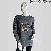 Одежда handmade. Livemaster - original item Long sweatshirt with embroidery
