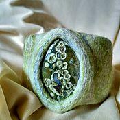 Украшения ручной работы. Ярмарка Мастеров - ручная работа Валяный браслет с океанической яшмой. Handmade.