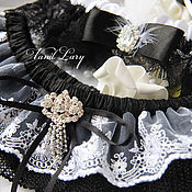 """Свадебный салон ручной работы. Ярмарка Мастеров - ручная работа Подвязка для невесты """" Black+White"""". Handmade."""