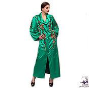 """Одежда ручной работы. Ярмарка Мастеров - ручная работа Роскошное длинное пальто из шелка с вышивкой """"Изумрудные Орхидеи"""". Handmade."""