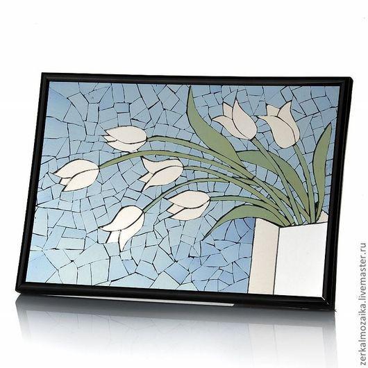 """Картины цветов ручной работы. Ярмарка Мастеров - ручная работа. Купить Панно """"Белые тюльпаны"""". Handmade. Голубой, тюльпаны"""
