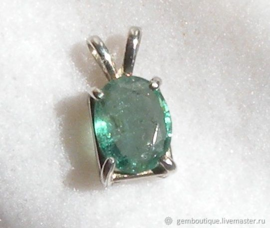 1.51 carat natural emerald pendant 925 sterling silver, Pendants, Moscow,  Фото №1