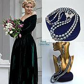 Украшения handmade. Livemaster - original item Baroque Pearl Necklace Butterfly on blue-gray Handmade. Handmade.