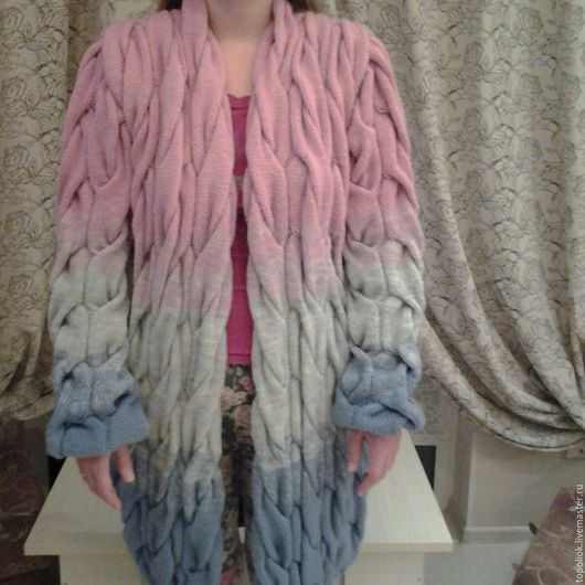 Кофты и свитера ручной работы. Ярмарка Мастеров - ручная работа. Купить лало кардиган женский. Handmade. В полоску, косы