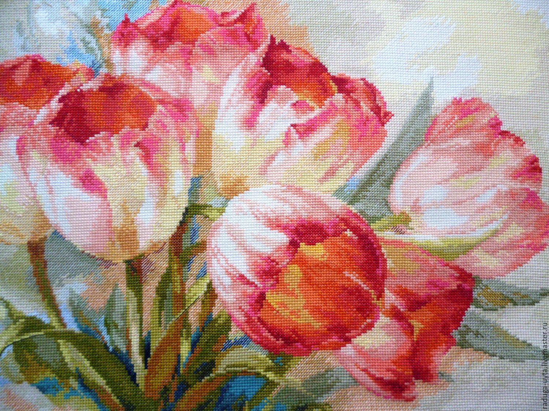 Картины с тюльпанами вышивка