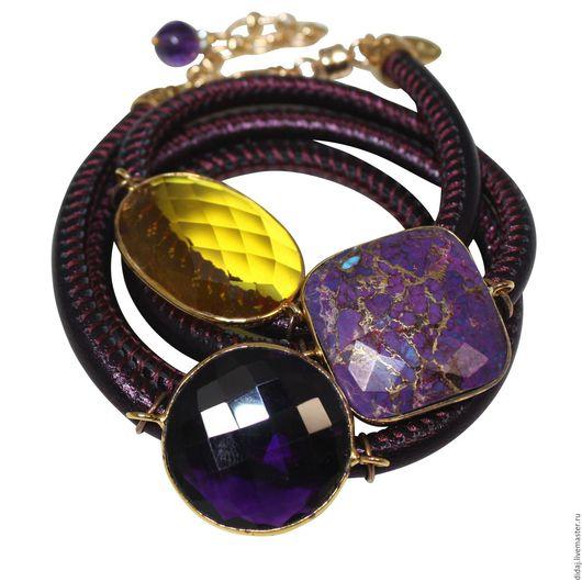 Браслеты ручной работы. Ярмарка Мастеров - ручная работа. Купить Браслет из лиловой итальянской кожи с полудрагоценными камнями. Handmade.