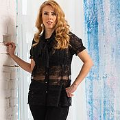 Одежда handmade. Livemaster - original item Black blouse with lace and mesh bow. Handmade.