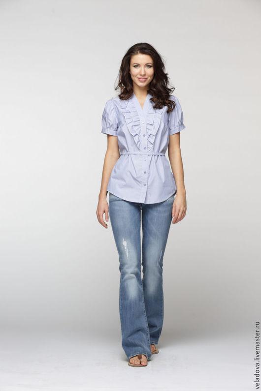 """Блузки ручной работы. Ярмарка Мастеров - ручная работа. Купить Блузка """"Нежно васильковая"""". Handmade. Голубой, блуза, офисный стиль"""