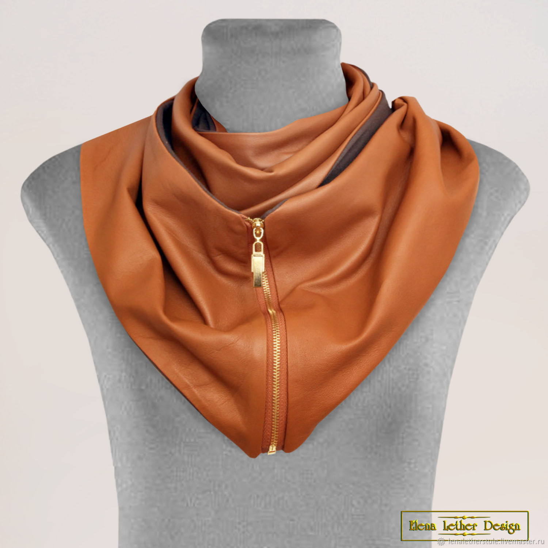 Snood scarf 'Spectacular' of genuine leather, Scarves, Rodniki,  Фото №1
