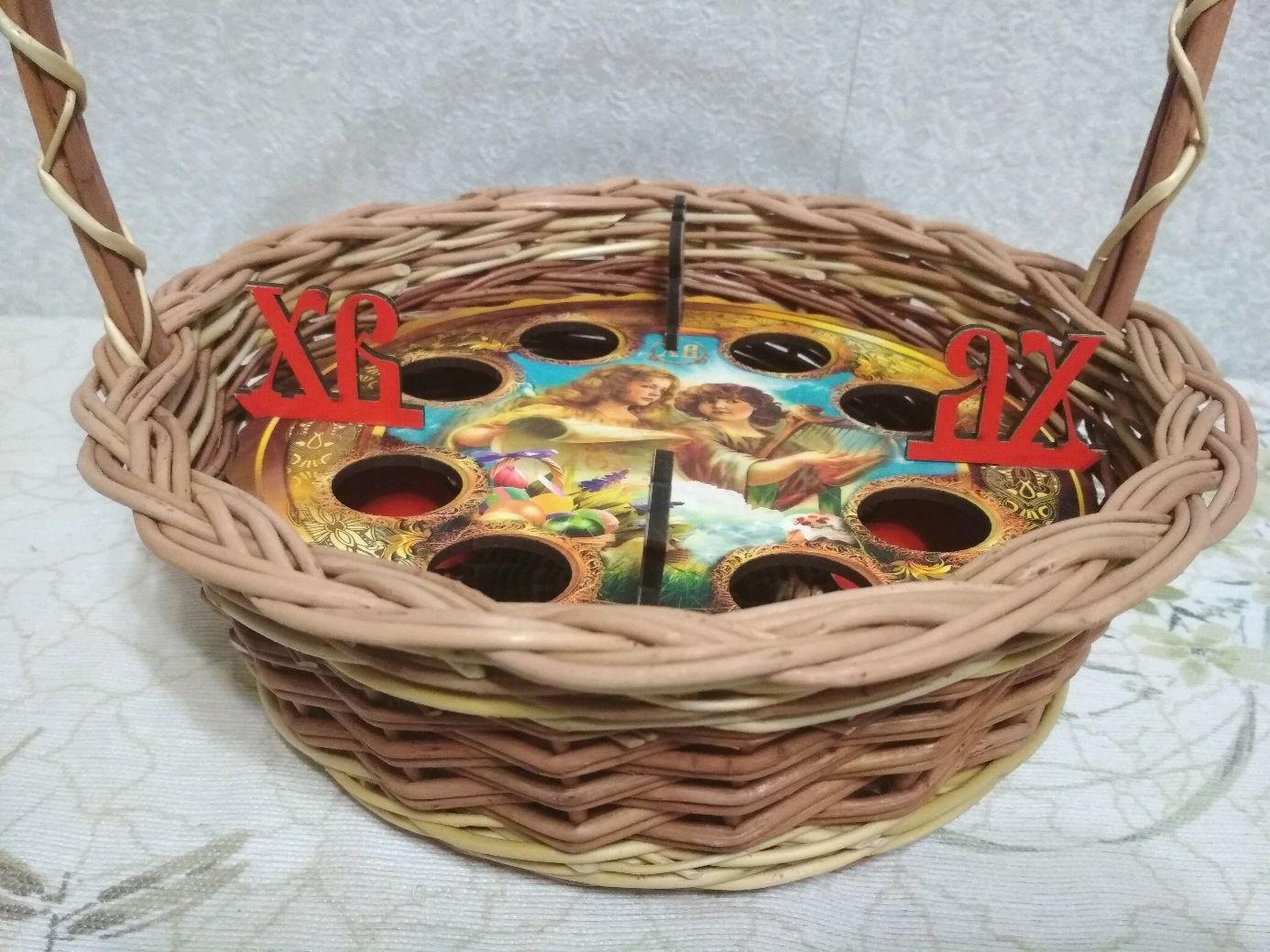 """Корзина """"Пасхальная-2"""" с подставкой для кулича и яиц"""
