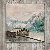Картины и панно ручной работы. Ярмарка Мастеров - ручная работа картина акрилом горы Швейцарии (мятный, серый цвет, горный пейзаж). Handmade.