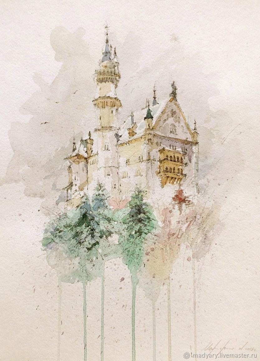 Painting watercolor Winter castle ( beige, gray, emerald ), Pictures, Smolensk,  Фото №1