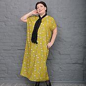 Одежда handmade. Livemaster - original item Dress straight skinny olive with giraffes. Art. 2316. Handmade.