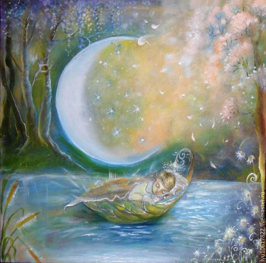 """Фантазийные сюжеты ручной работы. Ярмарка Мастеров - ручная работа. Купить Картина""""Колыбельная""""  сказочная,волшебная,красивая. Handmade. Голубой"""