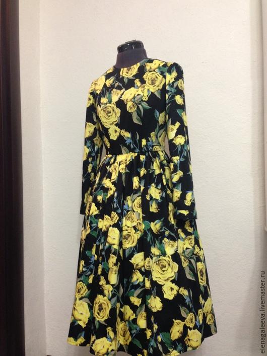 """Платья ручной работы. Ярмарка Мастеров - ручная работа. Купить Платье """"Желтые розы"""". Handmade. Черный, розы, платье из хлопка"""
