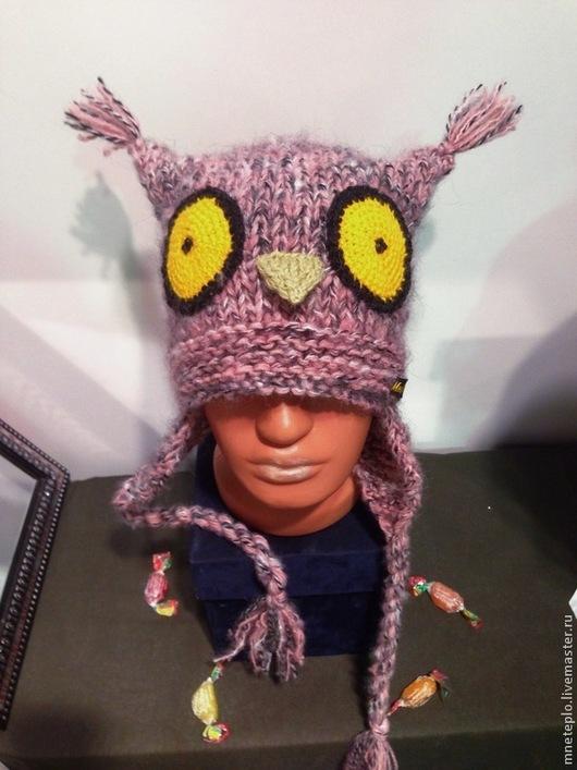 """Шапки ручной работы. Ярмарка Мастеров - ручная работа. Купить Шапка сова """"Розово-серая"""". Handmade. Розовый, шапка вязаная"""