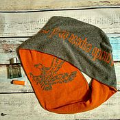 Аксессуары ручной работы. Ярмарка Мастеров - ручная работа Двухсторонний шарф снуд с дизайном. Handmade.
