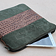 Tablet case laptop and documents from Khaki suede and leather Croco