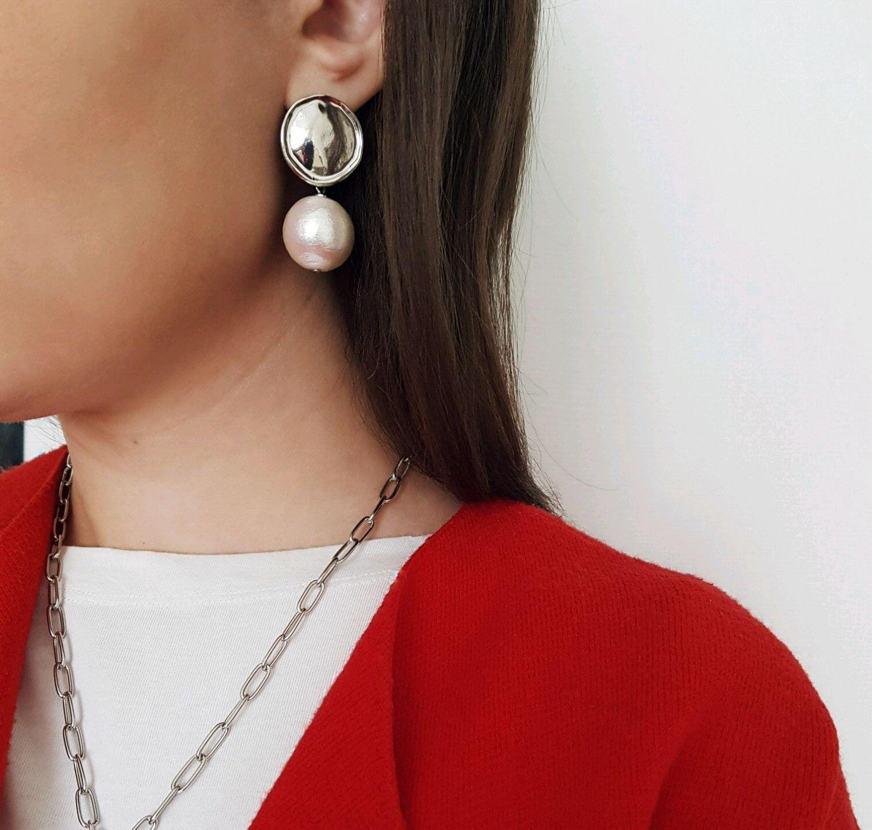 Earrings with cotton pearls, Earrings, Ufa,  Фото №1